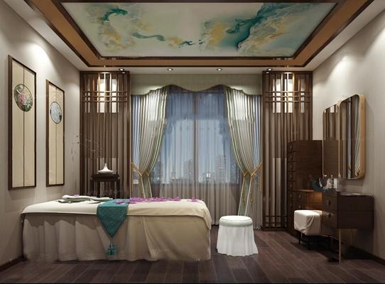 新中式美容院SPA包间 新中式美容院 SPA包间 斗柜 梳妆台 凳子 装饰画 按摩床