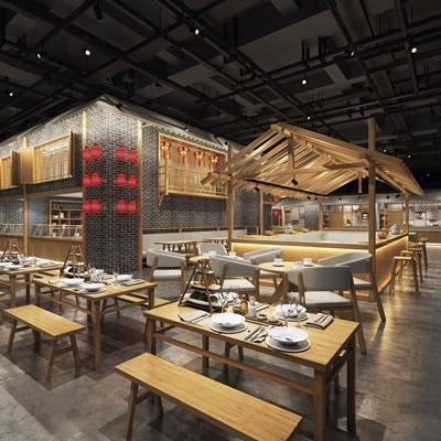 美食小吃街 新中式餐厅 餐桌 餐椅 长条凳 灯笼灯 吧台 吧椅