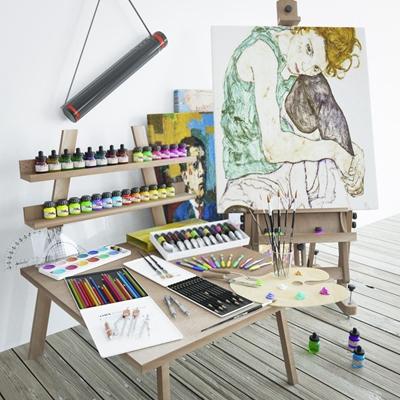 画具组合 画具 画架 画筒 颜料盒 画具 画架 画筒 颜料盒
