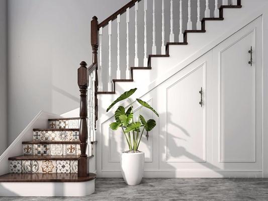 楼梯储藏柜 简欧楼梯 储藏柜 植物