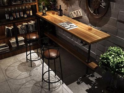 LOFT实木吧台 工业风吧台 吧椅 高柜 铁艺吧椅 LOFO 酒吧椅 书柜