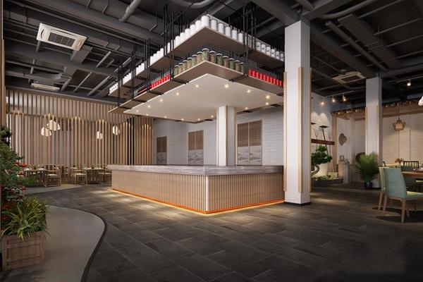 日式料理操作台 日式餐饮空间 料理台 就餐区 餐桌椅 蓑衣 斗笠 仿古砖 管道 料理