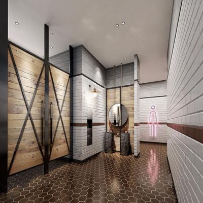 工业风卫生间 工业风卫生间 镜子 洗手台 男厕标志 壁灯 卫生间隔门