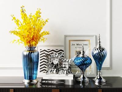 简欧渐变色玻璃花瓶 简欧饰品摆件 花瓶 相框 装饰品 花卉