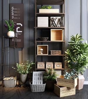 现代盆景装饰柜组合 现代装饰架 装饰柜 绿植 花架 书 摆件
