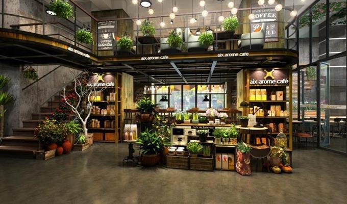 花店/咖啡厅 工业风咖啡厅 花店 置物架 吧台 吧椅 花艺 吊灯