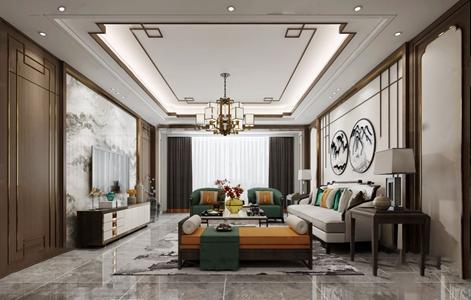 新中式客厅门厅3d模型