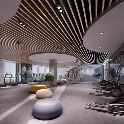 现代健身房 现代娱乐会所 会所 跑步机 健身器材 吊顶