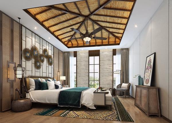 东南亚风格主卧 东南亚卧室 床具 床 台灯 边几 休闲椅 床尾榻 东南亚 吊灯 饰品