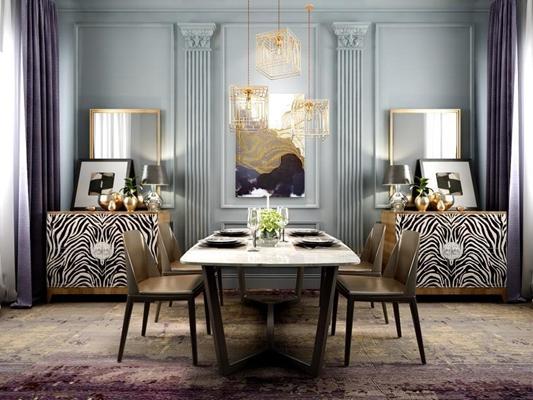 现代简约餐桌椅餐边柜组合 现代餐桌椅 餐具 餐边柜 吊灯 装饰镜 台灯 摆件