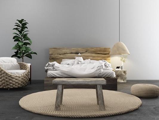 北欧床具 北欧床具 麻绳地毯 吊灯 木凳