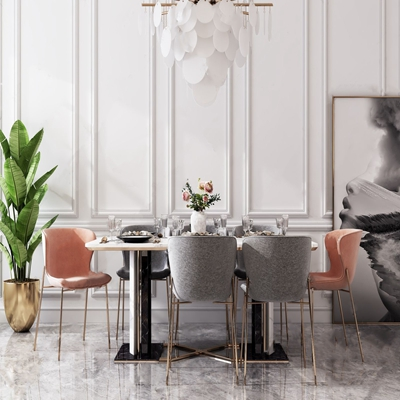 现代轻奢餐桌椅 现代餐桌椅 餐具 餐桌 餐椅 盆栽 装饰画 吊灯