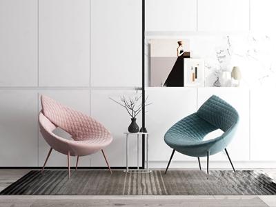 现代 单椅 现代休闲椅 角几 挂画 饰品摆件