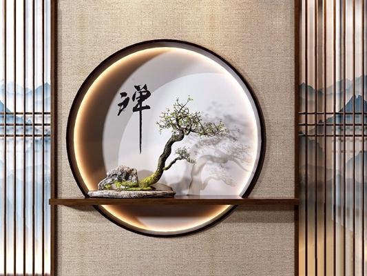新中式玄关端景绿植组合 新中式绿植 盆栽 背景墙