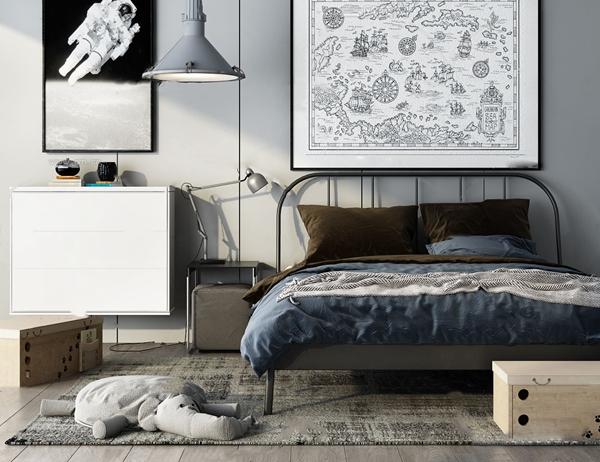 工业风铁架双人床3d模型