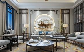 新中式客厅餐厅3D模型
