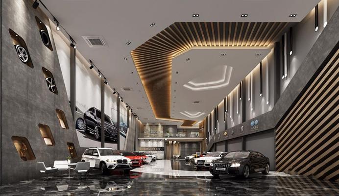 汽车展厅大厅 汽车展厅 大厅 前台 休闲区 办公室 汽车 吊顶 背景墙 接待台