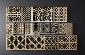 中式金属隔断屏风花格组合3D模型