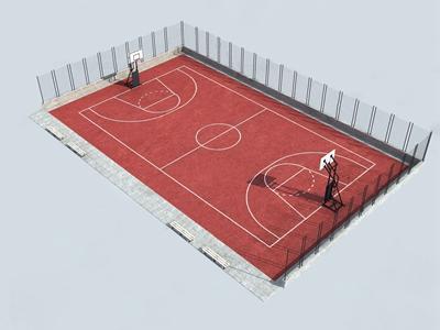 现代户外篮球场 现代其他 球场 篮球架