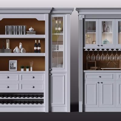 欧式实木白色酒柜酒水组合3D模型