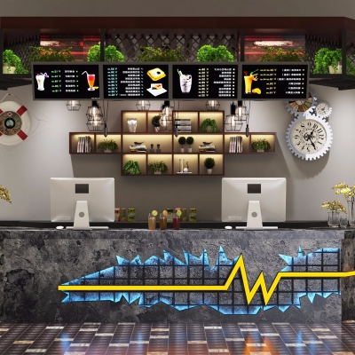 现代餐吧吧台收银台3d模型