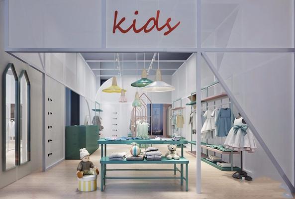 现代儿童服装专卖店 现代商业零售 儿童服装店 儿童衣服 女孩裙子 玩具球 衣架 货架 毛衣 折叠衣服 儿童玩具 北欧吊灯