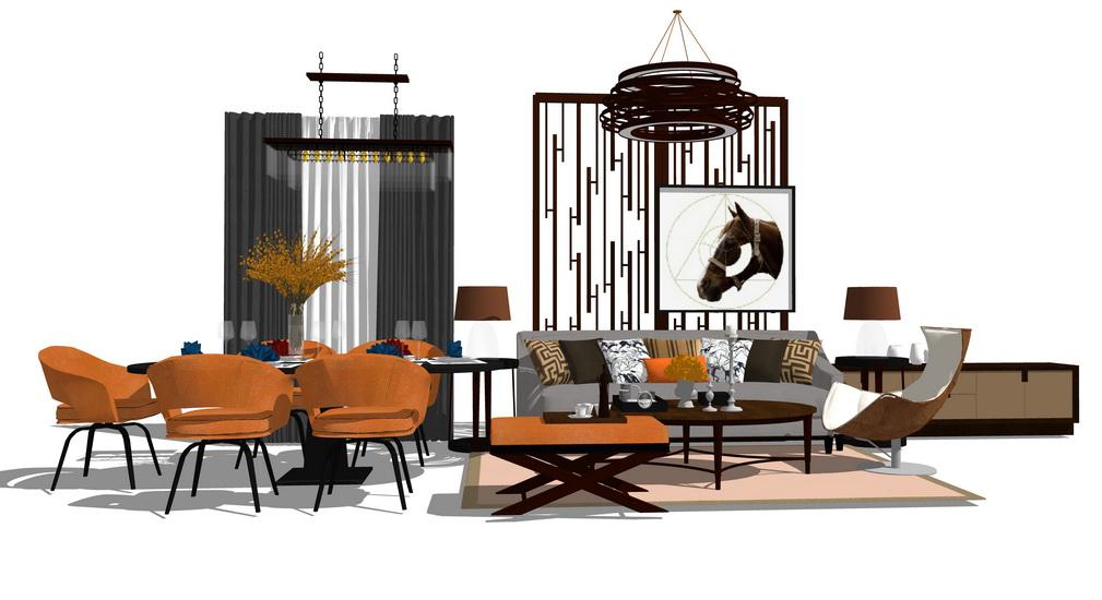 现代爱马仕风格客厅餐厅家具组合SU模型