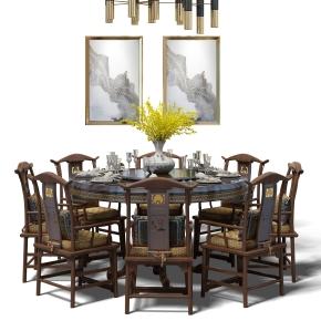 中式实木圆形餐桌椅餐具吊灯组合3D模型