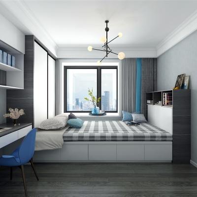 北欧榻榻米卧室双人床3D模型