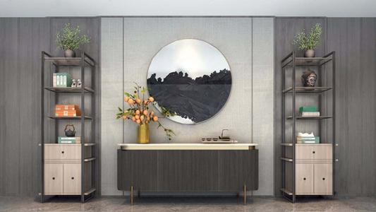 新中式边柜装饰柜组合 新中式边柜/玄关柜 装饰柜 花瓶 花艺