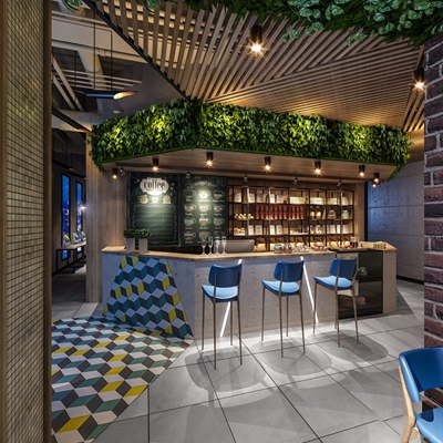工业风咖啡厅网咖 工业风咖啡厅 网咖 接待台 吧台 吧椅 植物墙 铁艺装饰架 桌椅 电脑桌 单人沙发 鸟笼灯