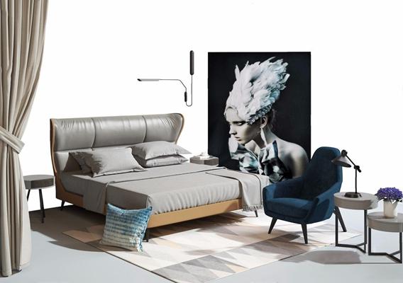 现代床具软装组合 现代双人床 椅子 边几 壁灯 挂画 窗帘 地毯 床品 抱枕 台灯