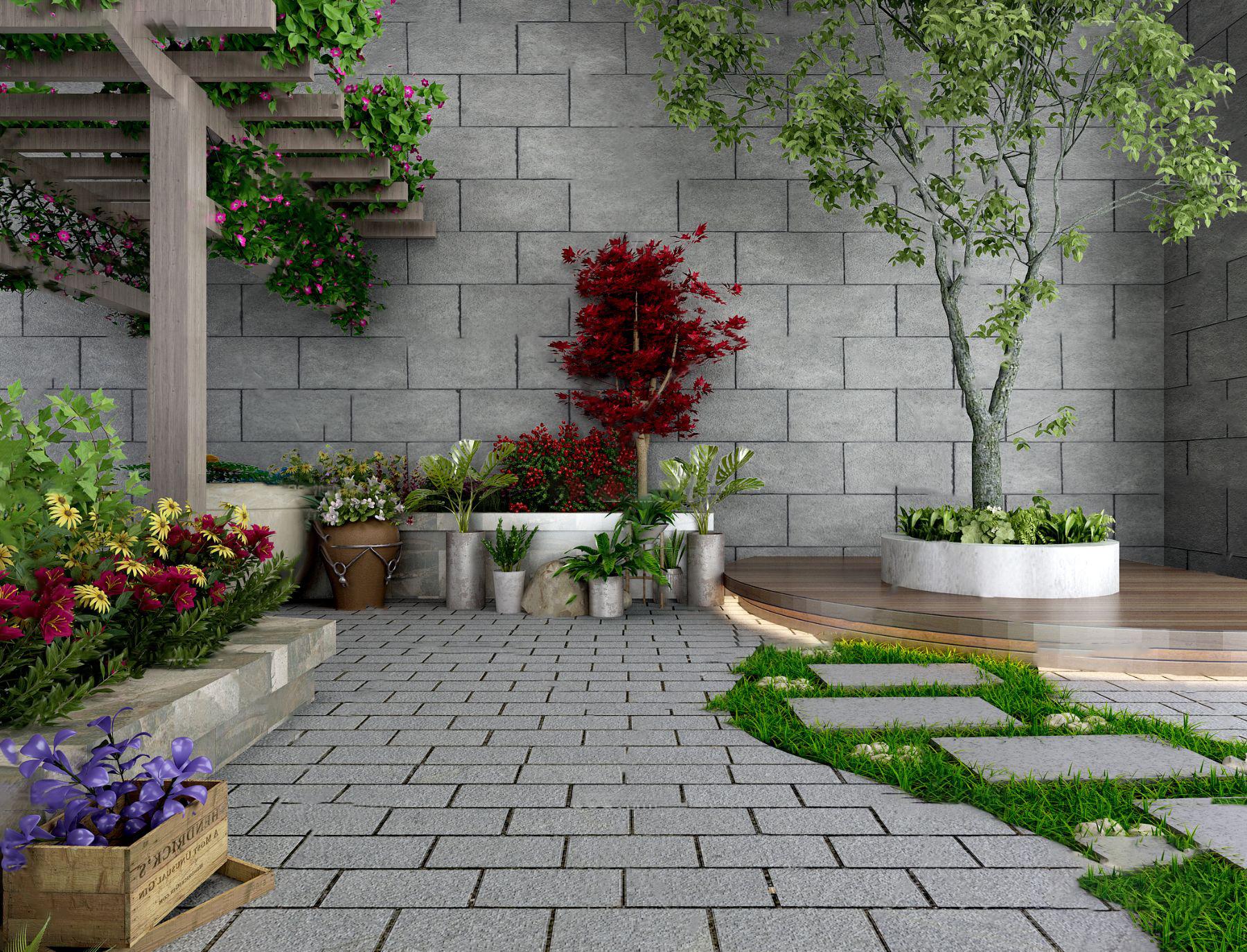 现代花园景观园艺小品3d模型