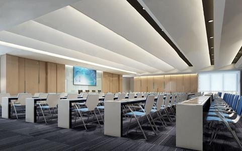 现代企业培训室 现代会议室 会议桌 会议椅 投影仪