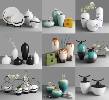 新中式陶瓷罐器皿摆件组合 花瓶 器皿 摆件