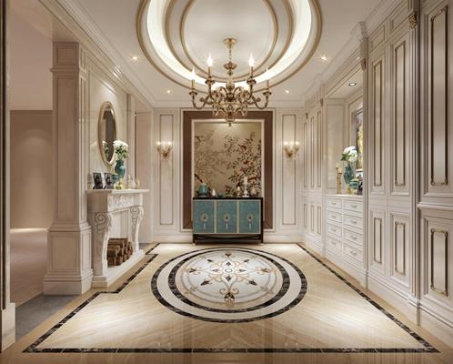 奢華法式門廳 法式門廳 玄關柜 吊燈 邊柜