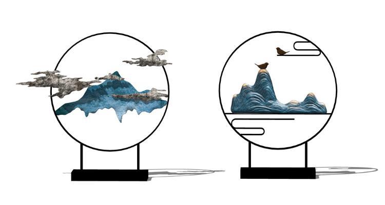 新中式山水饰品摆件SU模型