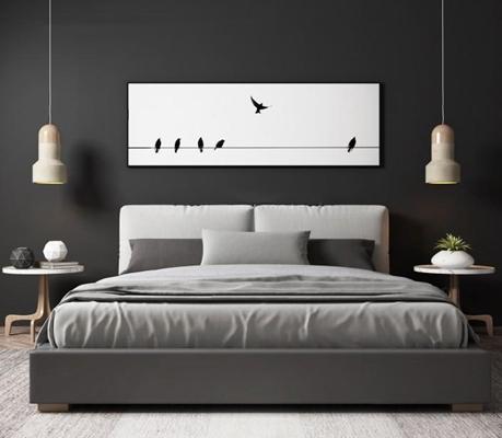 北欧双人床床头柜组合 北欧双人床 床头柜 吊灯 摆件 地毯 装饰画