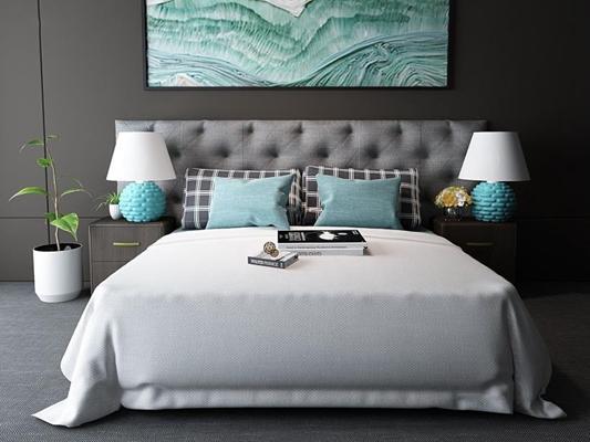 北欧卧室床具床头柜台灯组合 北欧床具 床头柜 台灯 挂画 盆栽