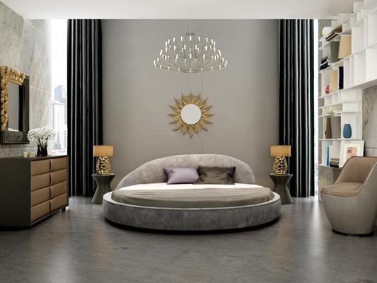 低调奢华圆床柜子组合 现代床具 双人床 圆床 柜子 五斗柜 边柜 吊灯 台灯 镜子 沙发 现代卧室