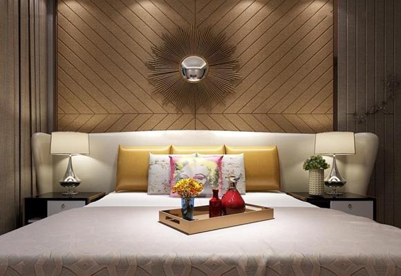 现代简约床具组合 现代双人床 枕头 床头柜 台灯 装饰镜 摆件