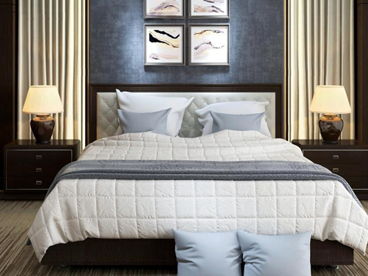 卧室床具组合 新中式双人床 床头柜 台灯 抱枕 挂画