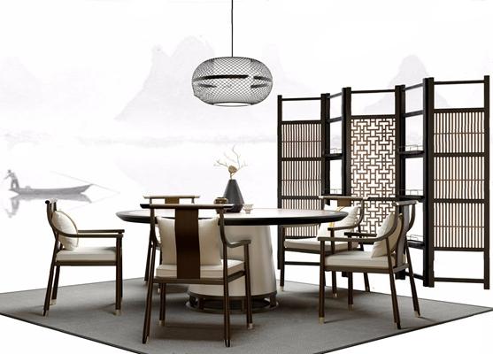 新中式餐桌椅 新中式餐桌 餐椅 圆桌 圆吊灯 屏风 隔断