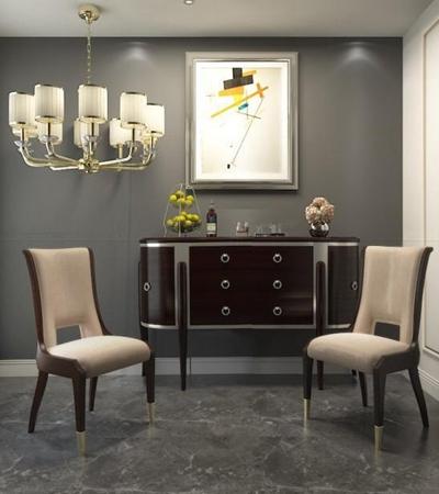 新古典餐边柜椅子组合 新古典边柜 单椅 吊灯 挂画