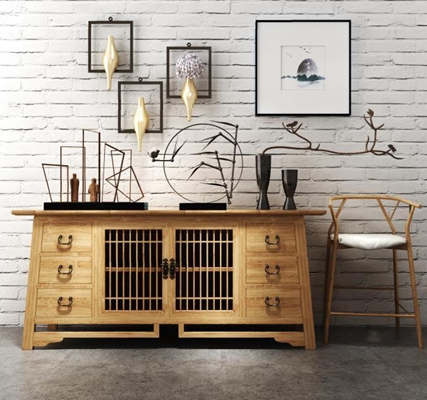 新中式边柜椅子组合 新中式边柜 单椅 挂画 摆件