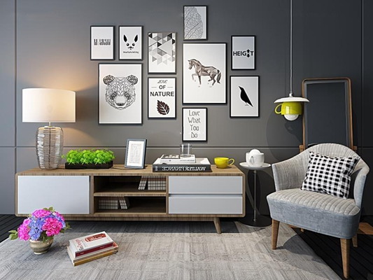 北欧电视柜照片墙椅子组合 电视柜 椅子 台灯 吊灯 边柜 单椅