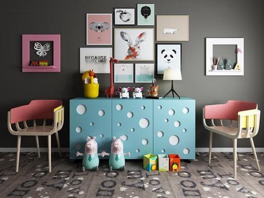 创意儿童房边柜休闲椅组合 现代边柜 创意边柜 单椅 儿童装饰画 墙饰 台灯 玩具