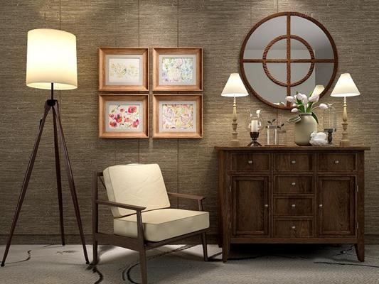 美式乡村柜子椅子灯具组合 美式玄关柜 休闲椅 落地灯 台灯 镜子 挂画