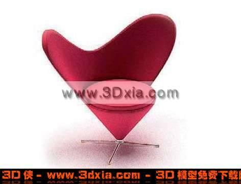 3D心型漂亮的红色单人沙发模型