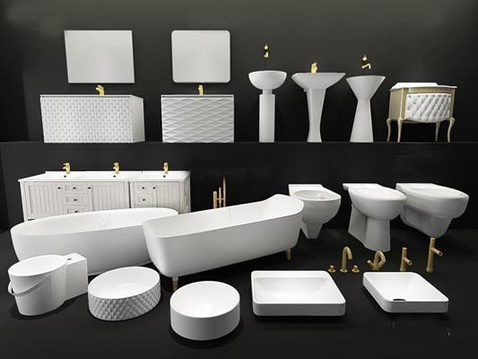 现代卫生洁具五金件组合 浴缸 卫生洁具 马桶 卫浴柜 卫生洁具组合